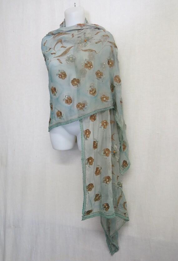 Silk Chiffon Shawl Embroidered Shawl  Aqua Chiffon