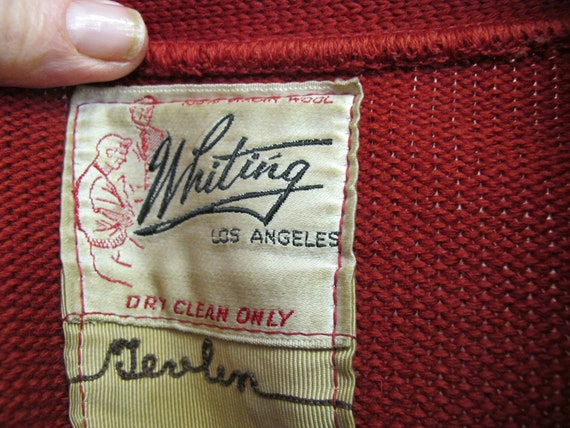 1950s Varsity Sweater Whiting Letterman Sweater R… - image 5