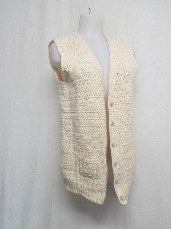 White Sweater Vest Knit Vest Long Tunic Vest Hand