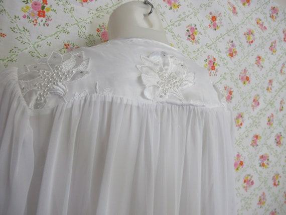 Chiffon Robe Short White Peignoir Sheer Nylon Rob… - image 5