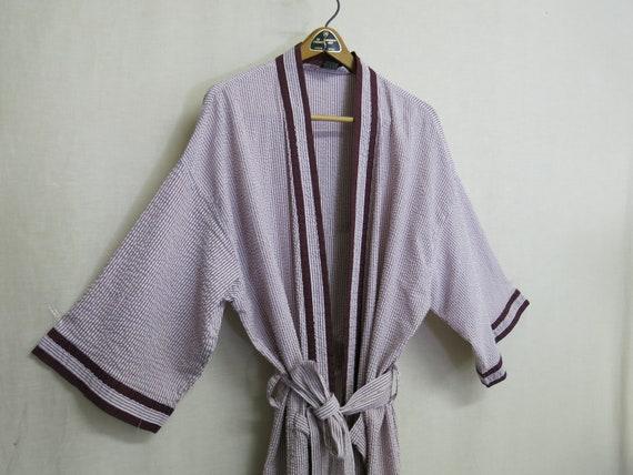 Seersucker Robe Cotton Robe Pool Cover up Stripe R
