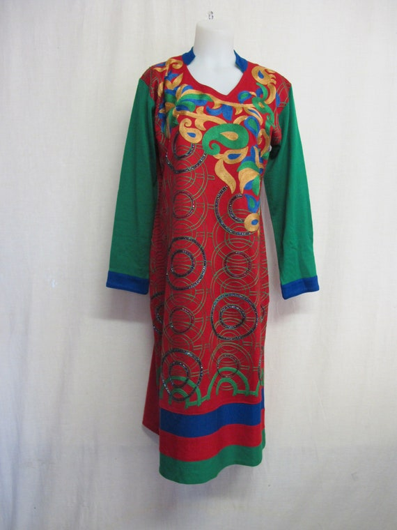 Boho Knit Dress Party Dress  Embroidered Beaded Dr