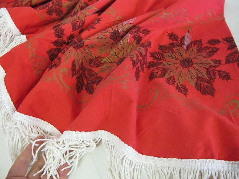 Mad Men Christmas Fringe Tablecloth Round 1960 Mid Century Modern Christmas Tablecloth