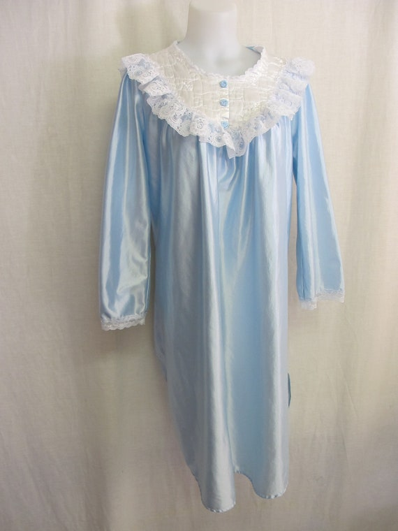 Old Fashioned Satin Nightgown 1980\'s Nightgown Long Sleeve | Etsy