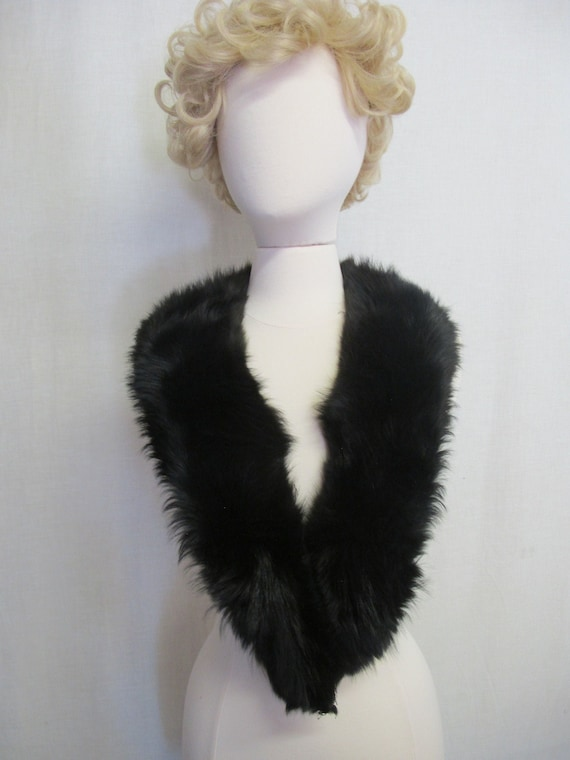 Black Fox Collar Wrap Large Fur Collar Shrug Fox F
