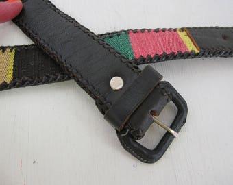 Guatemalan Belt 1970's Hippie Belt Boho Belt Black Leather Belt Woven Belt