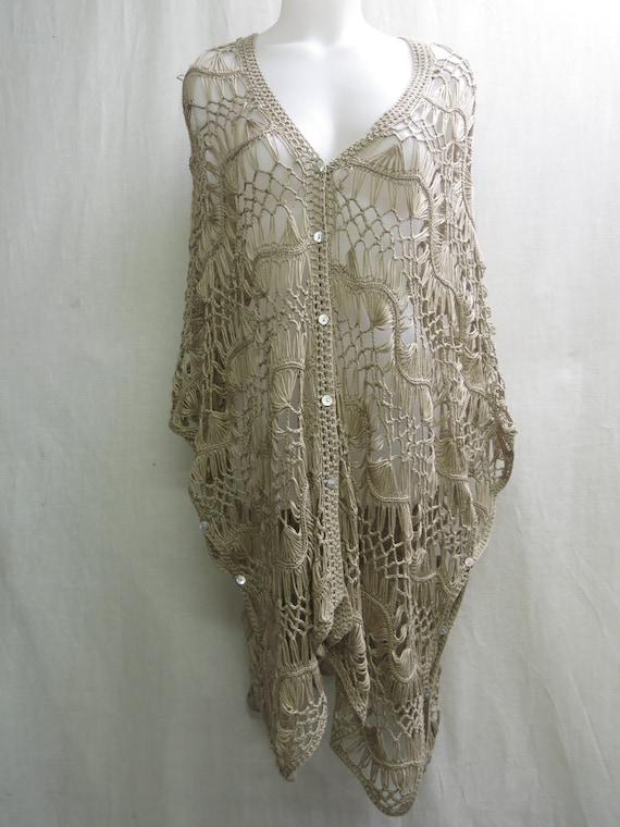 Hippie Crochet Poncho Vest  Boho Crochet Oversize… - image 5