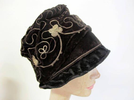 Flapper Hat Velvet Cloche 1920 Velvet Hat Turban H
