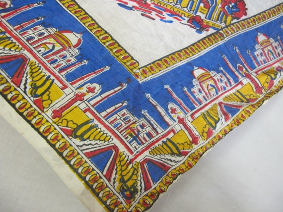 Travel Souvenir Scarf India 1950s Silk Scarf Band… - image 5