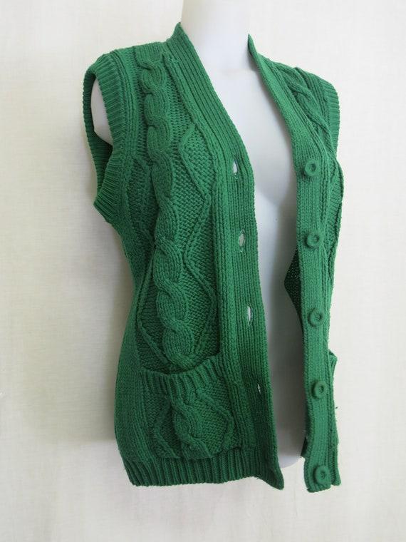 Vintage Handmade Cardigan Sweater Vest Knit Vest … - image 7