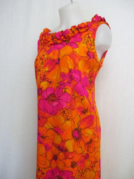 Hawaiian Maxi Dress Mod Dress  1970 Psychedelic Fl