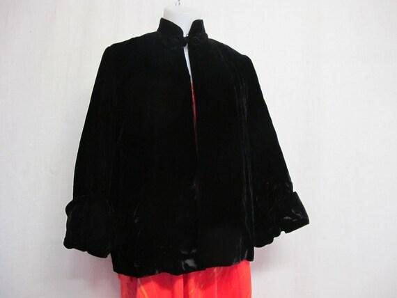 Black Velvet Jacket 1940s Cropped Velvet Jacket Sw
