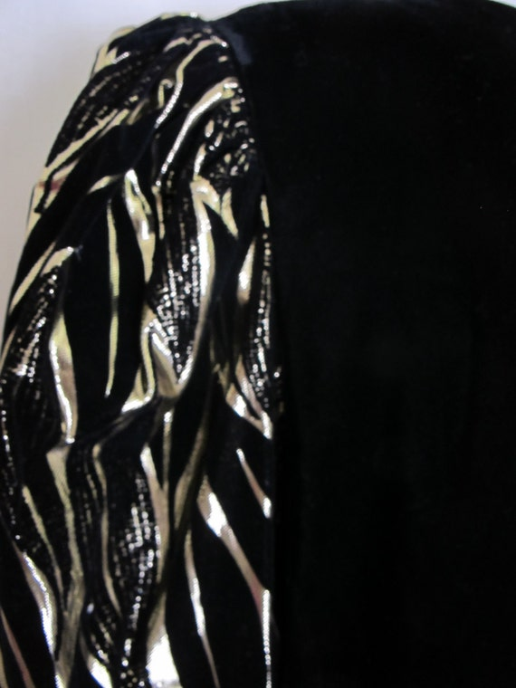 Long Black Velvet Metallic Party Dress 1980 Dress… - image 5