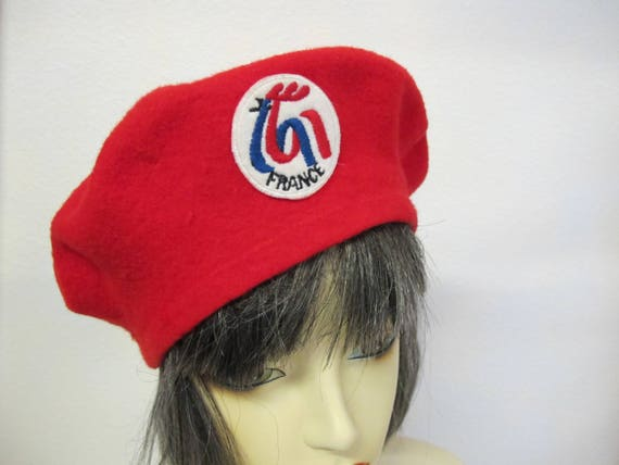 French Beret Vintage Red Beret Wool Beret