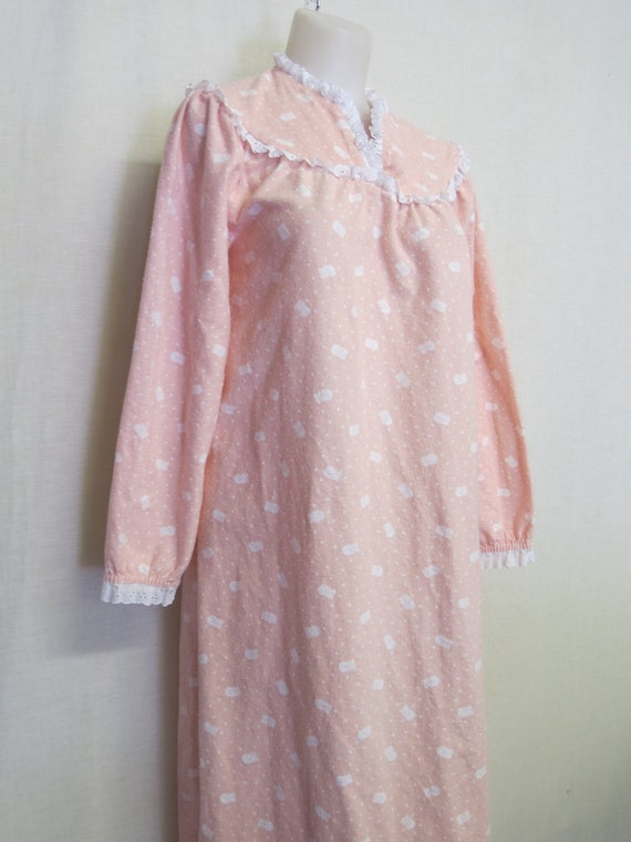Vintage LANZ Flannel Nightgown Full Length Cotton
