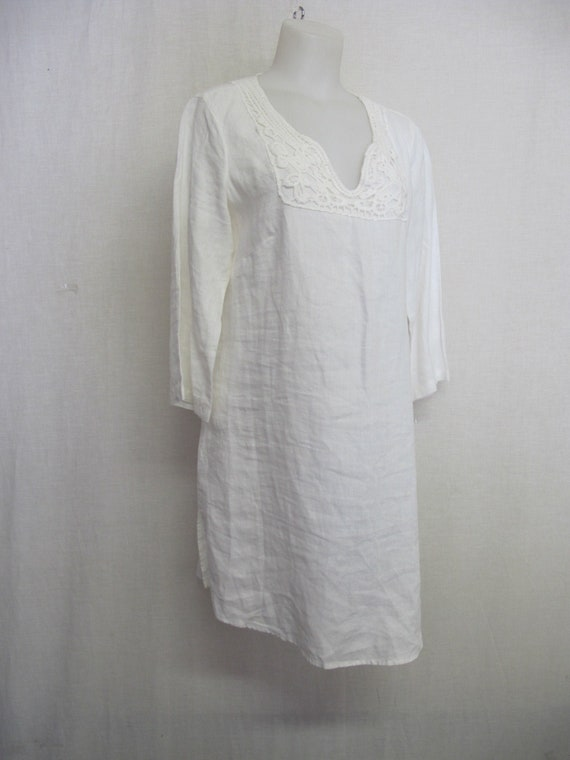 White Linen Tunic Dress Boho Linen Dress Long Line