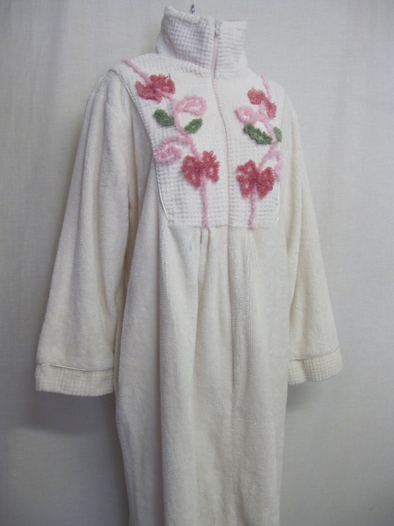 Chenille Robe Floral Terrycloth Robe Front Zipper