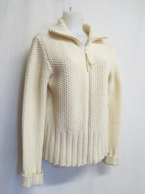 Bulky Cardigan Sweater Shawl Collar White Lambs wo