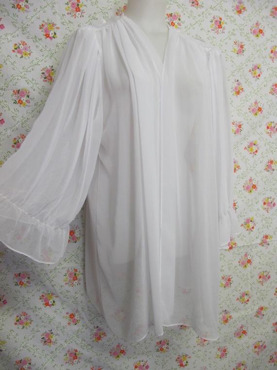 Chiffon Robe Short White Peignoir Sheer Nylon Rob… - image 2
