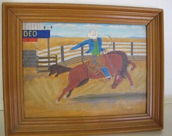 Cowboy Art Cowboy Painting Western Art Rodeo Bucking Bronco Mid Century Cowboy Painting
