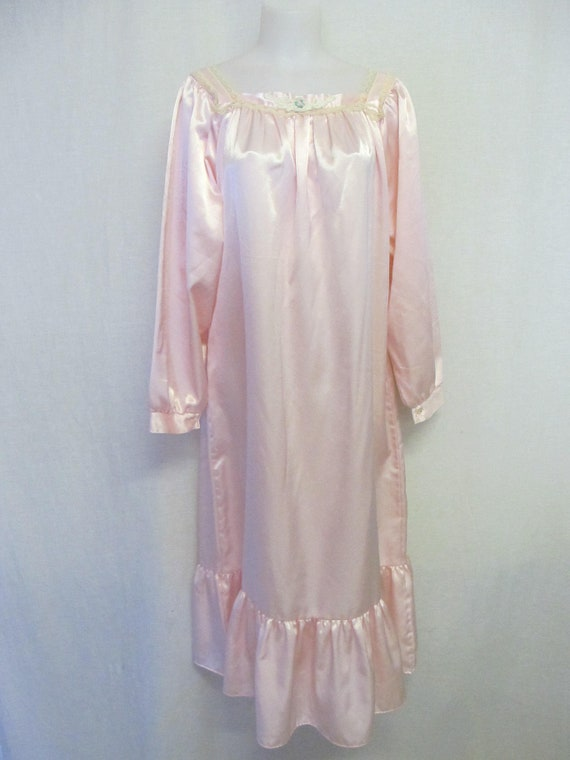 Old Fashioned Nightgown Long Sleeve Pink Satin Nightgown | Etsy