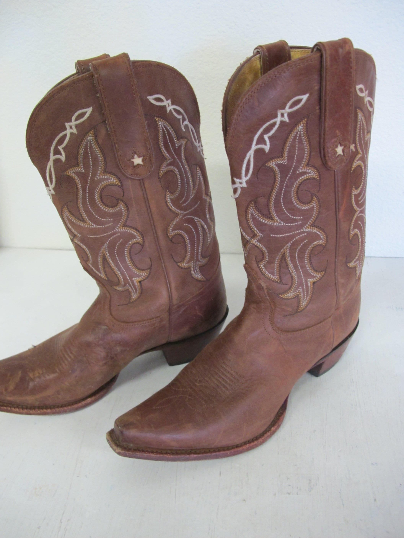 d4cd4da04b0 Cowboy Boots Tony Lama Boots Brown Boots 8B Square Toe