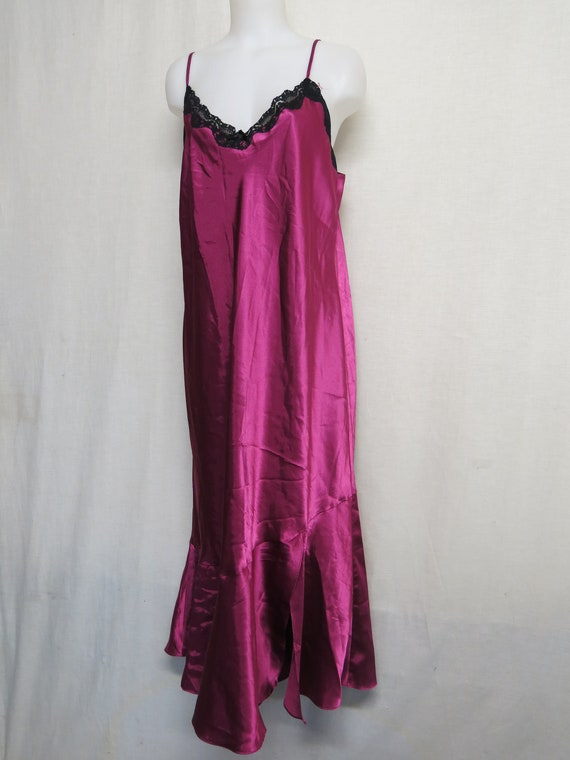 Satin Nightgown Burgundy Marsala Satin and Lace Ca