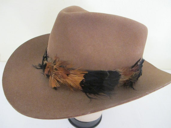 Vintage Cowboy Hat Feather Headband Hat 1990's Hat