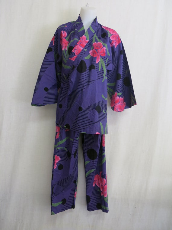 Asian Style Cotton Pajamas Kimono Floral Chinese L