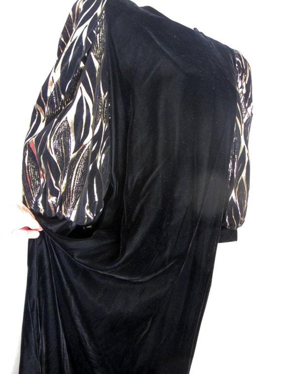 Long Black Velvet Metallic Party Dress 1980 Dress… - image 2