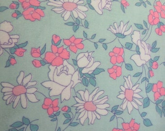 Vintage Cotton Flannel 1970's Fabric Pajama Fabric  Floral Flannel