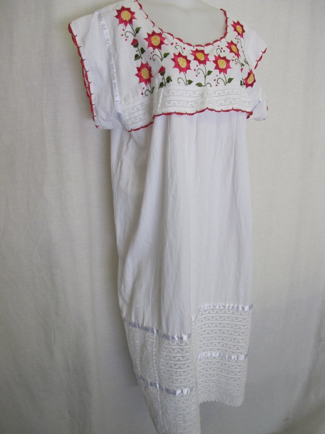 Mexican Dress Cotton Embroidery Dress Peasant Dress Hippie Etsy