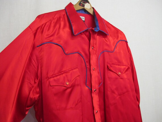Red Satin  Cowboy Shirt Karman  Rockabilly 1980's