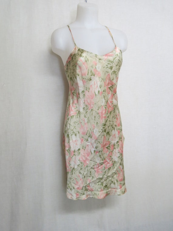 Silk Satin Nightgown Floral Chemise