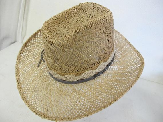 Straw Cowboy Hat Hippie Hat Summer Cowboy Rockabi… - image 3