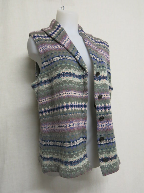 Cardigan Sweater Vest Fair Isle Shawl Collar Sweat