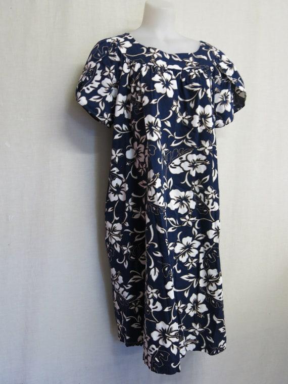 Hawaiian MuuMuu Hawaiian Dress Cotton Floral Cafta