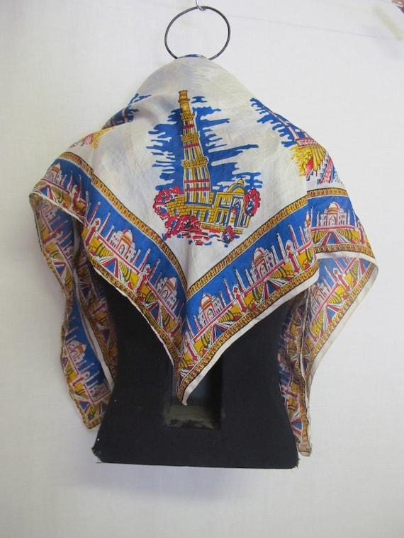 Travel Souvenir Scarf India 1950s Silk Scarf Band… - image 7