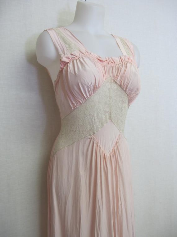 1930's Nightgown Rayon nightgown Blush Pink XS/Sma