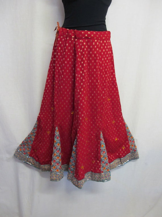 Boho Skirt Hippie Skirt Indian Skirt Metallic Emb… - image 2