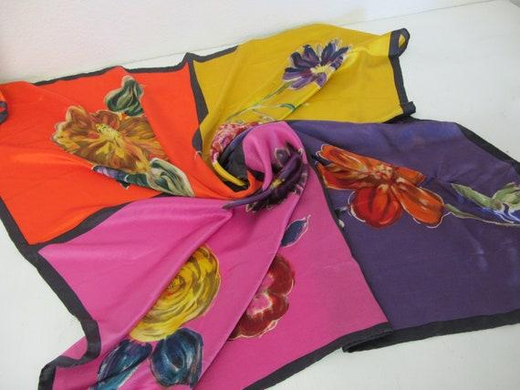 Laura Ashley Silk Scarf Designer Silk Scarf Floral