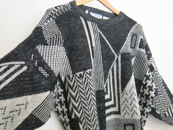 Retro Sweater Geometric Sweater 1980's Sweater Pro