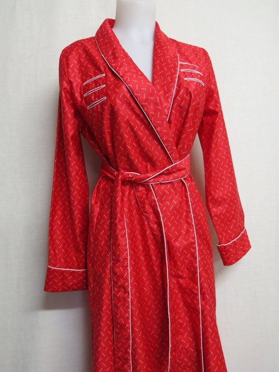Red Cotton Robe Wrap Around Full Length Cotton Rob