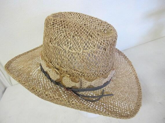 Straw Cowboy Hat Hippie Hat Summer Cowboy Rockabi… - image 5