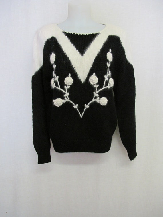 Novelty Sweater Angora Sweater Black Floral Sweate
