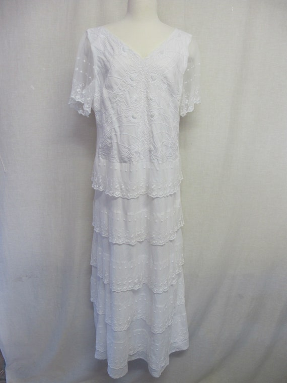 White Peasant Dress Wedding Dress Embroidered Lace