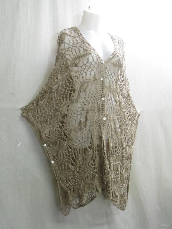 Hippie Crochet Poncho Vest  Boho Crochet Oversize… - image 2