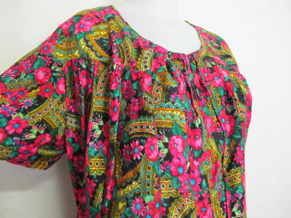 Hawaiian Muumuu Cotton Kaftan House Dress XL Crepe