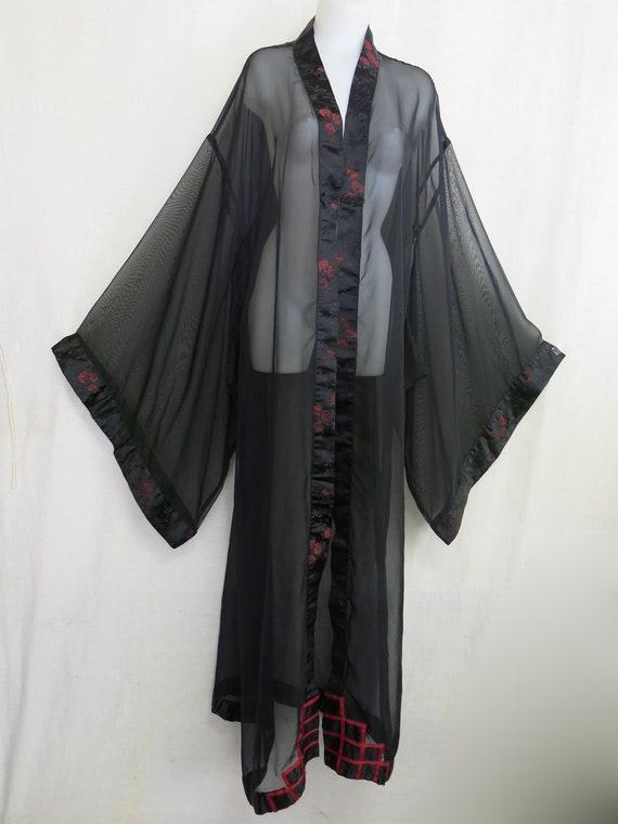 Goth Black Chiffon Kimono Robe Plus Size Kimono Ro