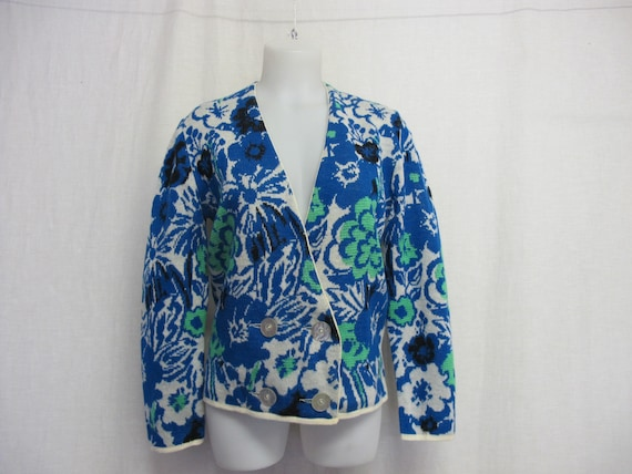Floral Cardigan Sweater Spring Jacquard Sweater Ca